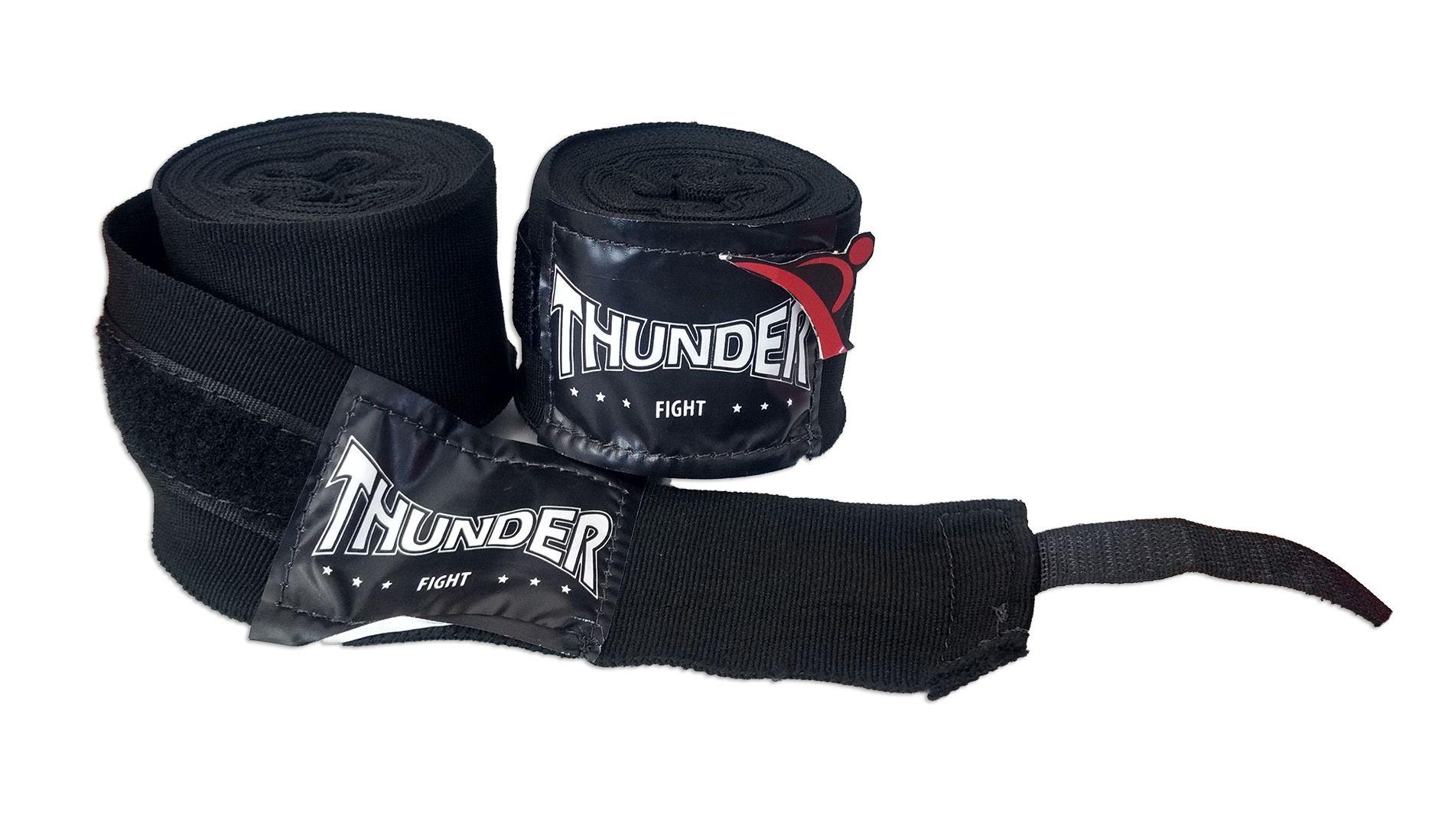Par De Bandagem Atadura Elástica 4 Metros Muay Thai Boxe - Preto - Thunder Fight  - PRALUTA SHOP
