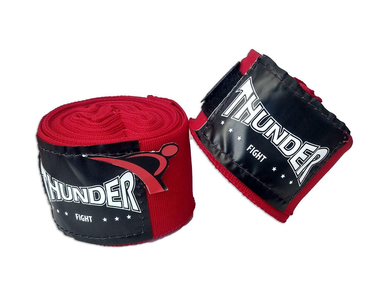 Par De Bandagem Atadura Elástica 4 Metros Muay Thai Boxe - Vermelho - Thunder Fight  - PRALUTA SHOP