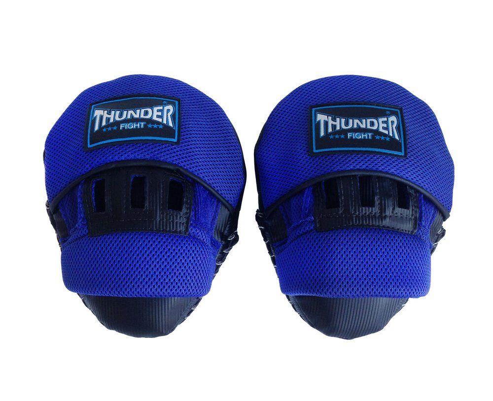 Par de Manopla Luva de Foco / Soco Confort Line - Preto com Azul - Thunder Fight  - PRALUTA SHOP