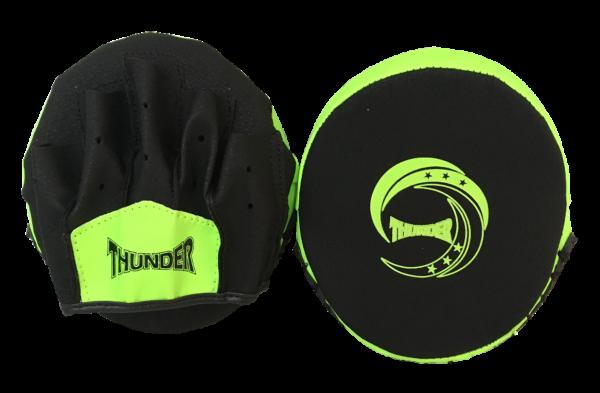 Par de Manopla Luva Foco Rápida - Preto com Verde Limão - Thunder Fight  - PRALUTA SHOP