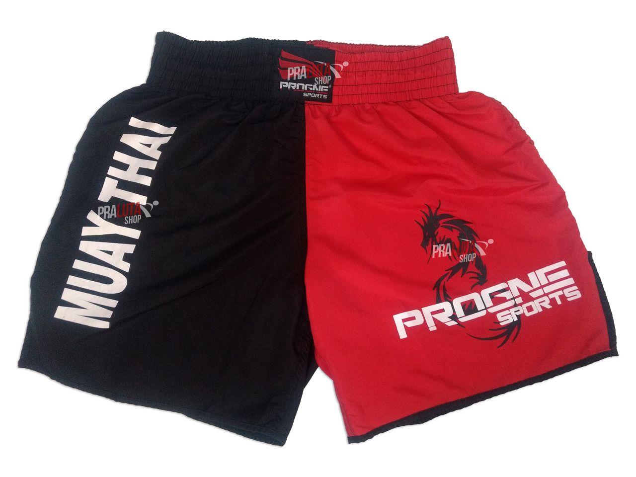 Shorts Bermuda Calção Treino Academia Top Muay Thai Preto com Vermelho Masculino - Progne  - PRALUTA SHOP