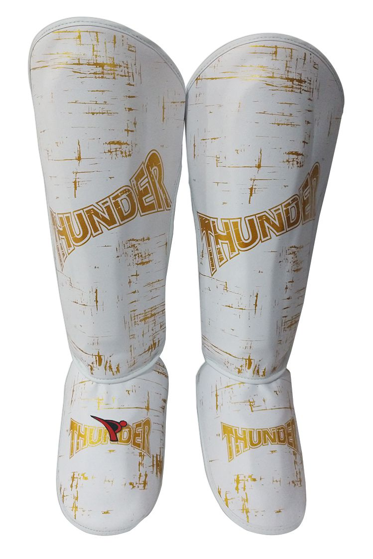 Super Kit de Muay Thai / Kickboxing 10oz - Caneleira G - Branco com Dourado Riscado - Thunder Fight  - PRALUTA SHOP