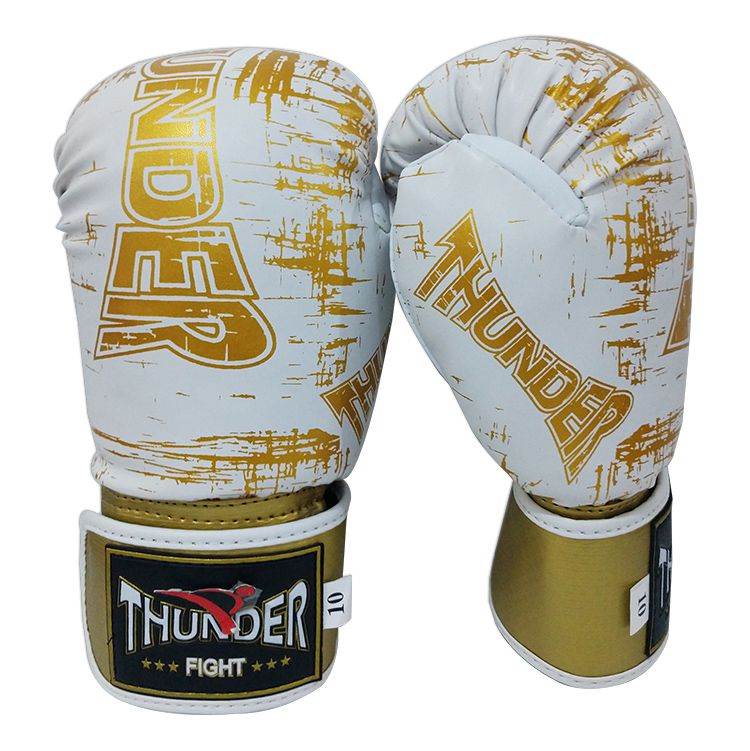 Super Kit de Muay Thai / Kickboxing 10oz - Caneleira M - Branco com Dourado Riscado - Thunder Fight  - PRALUTA SHOP