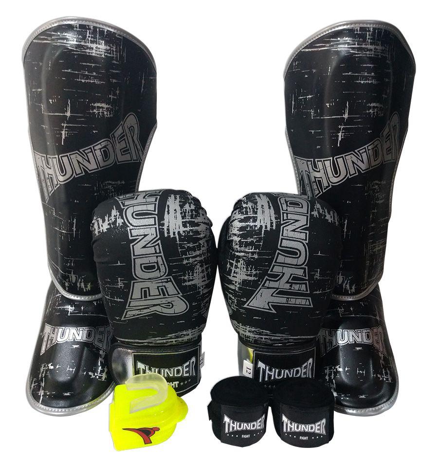 Super Kit de Muay Thai / Kickboxing 12oz - Caneleira G - Preto Riscado Prata - Thunder Fight  - PRALUTA SHOP