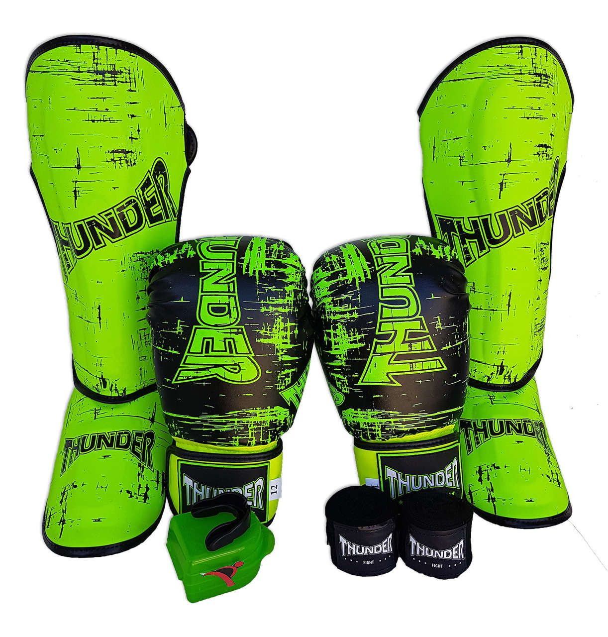 Super Kit de Muay Thai / Kickboxing 12oz - Caneleira G - Preto Riscado Verde - Thunder Fight  - PRALUTA SHOP