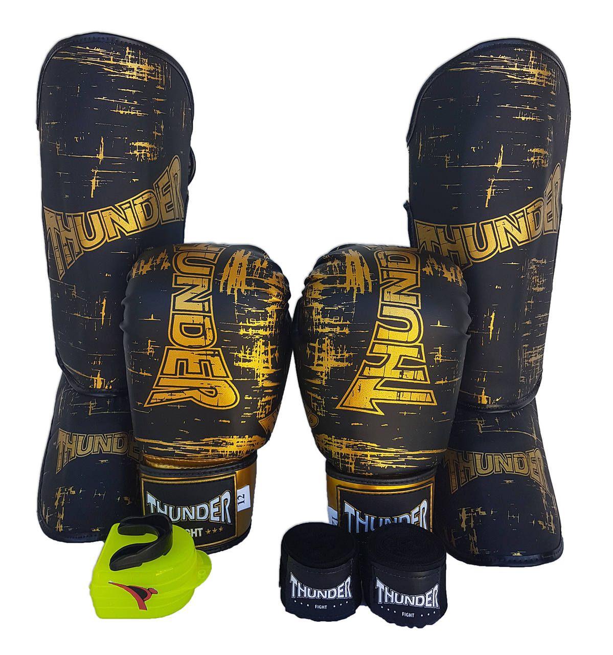 Super Kit de Muay Thai / Kickboxing 12oz - Caneleira M - Preto - Thunder Fight  - PRALUTA SHOP