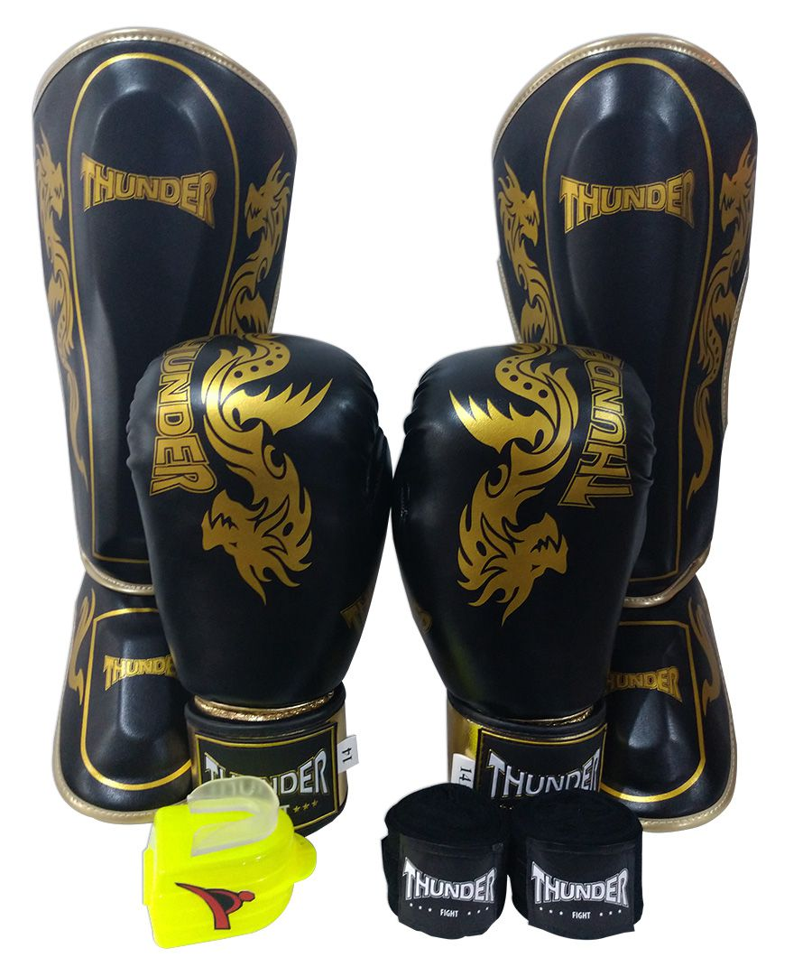 Super Kit de Muay Thai / Kickboxing 14oz - Caneleira G - Dragão Preto cm Dourado - Thunder Fight  - PRALUTA SHOP