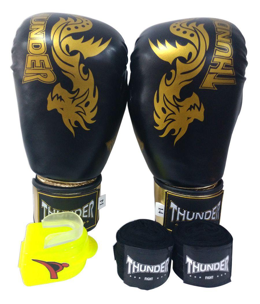 Super Kit de Muay Thai / Kickboxing 14oz - Caneleira M - Dragão Preto com Dourado - Thunder Fight  - PRALUTA SHOP