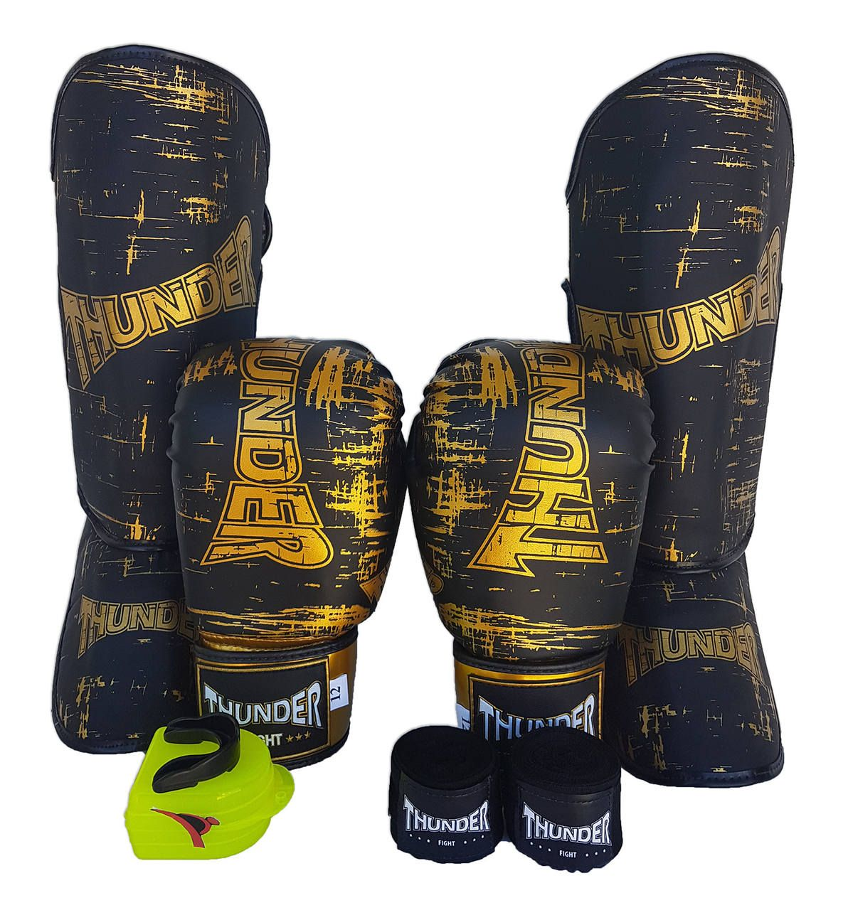 Super Kit de Muay Thai / Kickboxing 14oz - Caneleira M - Preto - Thunder Fight  - PRALUTA SHOP
