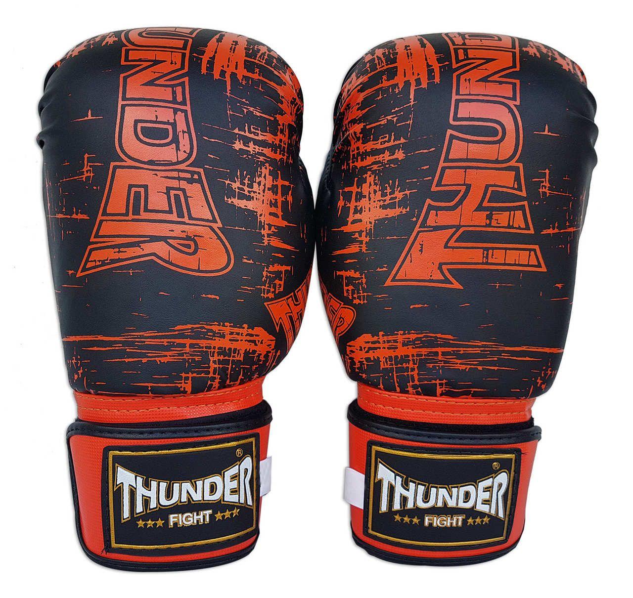Super Kit de Muay Thai / Kickboxing 16oz - Caneleira M - Preto / Laranja - Thunder Fight  - PRALUTA SHOP