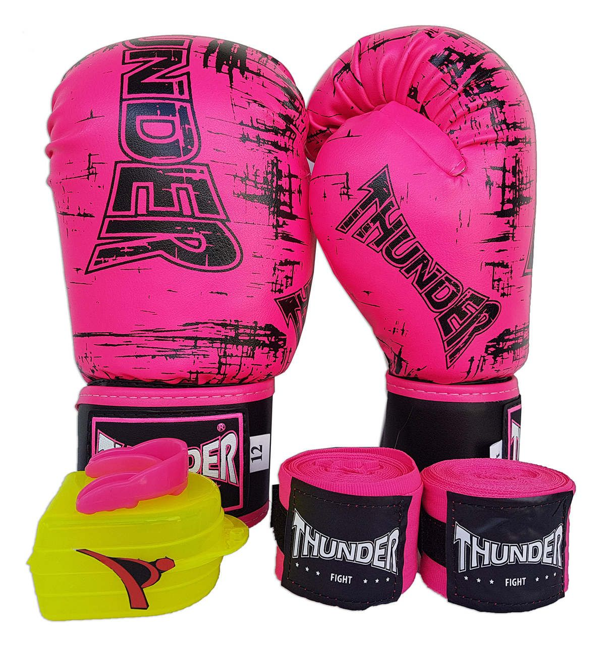 Super Kit de Muay Thai / Kickboxing Feminino 12oz - Caneleira M - Rosa - Thunder Fight  - PRALUTA SHOP