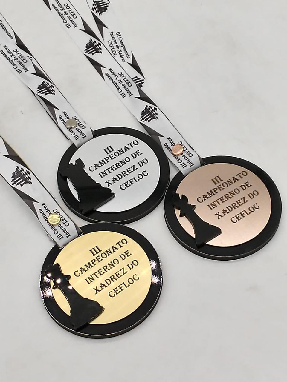 Medalhas C/ Sobreposição MDF + AC Escovado Personalizáveis
