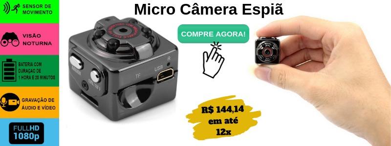 mini câmera espiã com visão noturna e sensor de movimento
