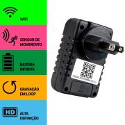 Carregador de Celular com Câmera Espiã, Wifi, Sensor de Movimento, Gravação Contínua, HD