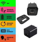 Carregador de Celular com Câmera Espiã, Wifi, Sensor de Movimento, Sensor de Voz, Gravação Contínua, HD LP