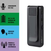 Mini Gravador de Voz, Sensor de Áudio, Grava à 100m de Distância, Microfone Externo