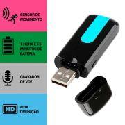 Pen Drive com Câmera Espiã, Sensor de Movimento, Gravador de Áudio, HD