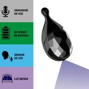 Pingente com Gravador de Voz, Sensor de Áudio, Luz Negra, Grava 40 Horas Sem Parar