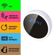 Relógio de Mesa com Câmera Espiã, Wifi, Sensor de Movimento, Gravação Contínua, HD, Aviso no Celular