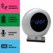 Relógio de Mesa Digital com Câmera Espiã, Gravador de Voz, Sensor de Movimento, HD