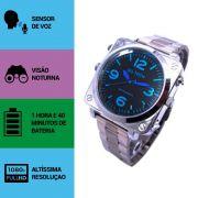 Relógio de Pulso Masculino com Câmera Espiã, Visão Noturna, Sensor de Áudio, Full HD