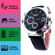Relógio de Pulso Unissex com Câmera Espiã, Sensor de Movimento, Visão Noturna, Full HD