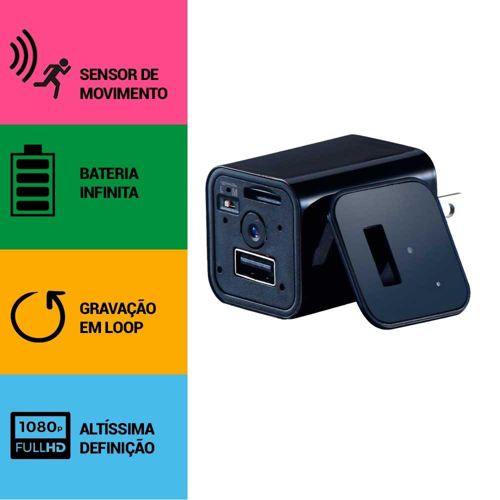 Carregador de Celular com Câmera Espiã, Sensor de Movimento, Gravação Contínua, Full HD