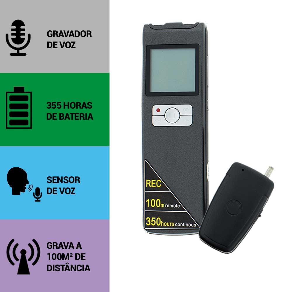 Escuta Espiã, Sensor de Áudio, Grava à 100m de Distância, Grava 350 Horas Sem Parar
