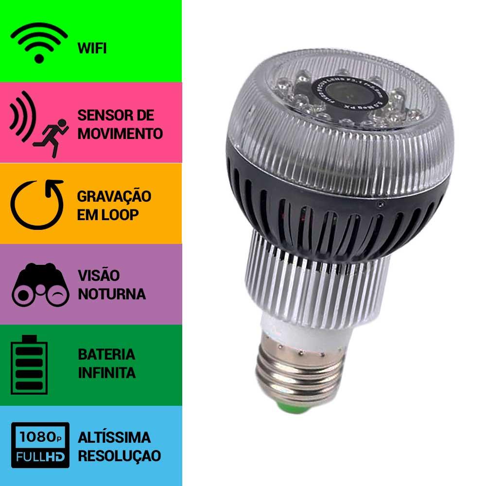 Lâmpada com Câmera Espiã, Wifi, Sensor de Movimento, Visão Noturna, Gravação Contínua, Full HD  - Empório Forte