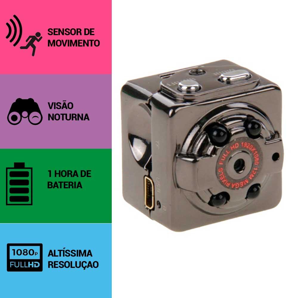 Micro Câmera espiã, Sensor de Movimento, Visão Noturna, Full HD