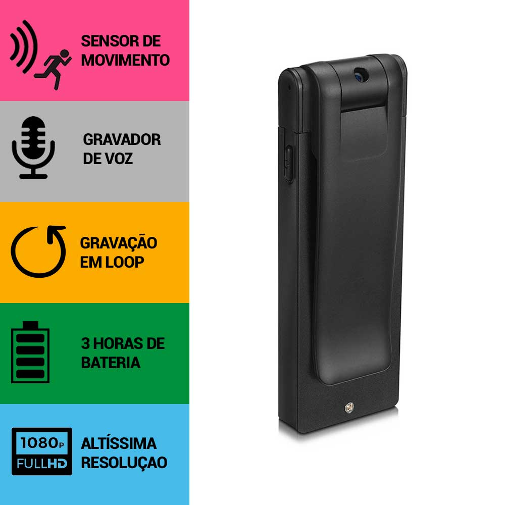 Mini Câmera Espiã, Gravador de Voz, Sensor de Movimento, Gravação Contínua, Full HD  - Empório Forte