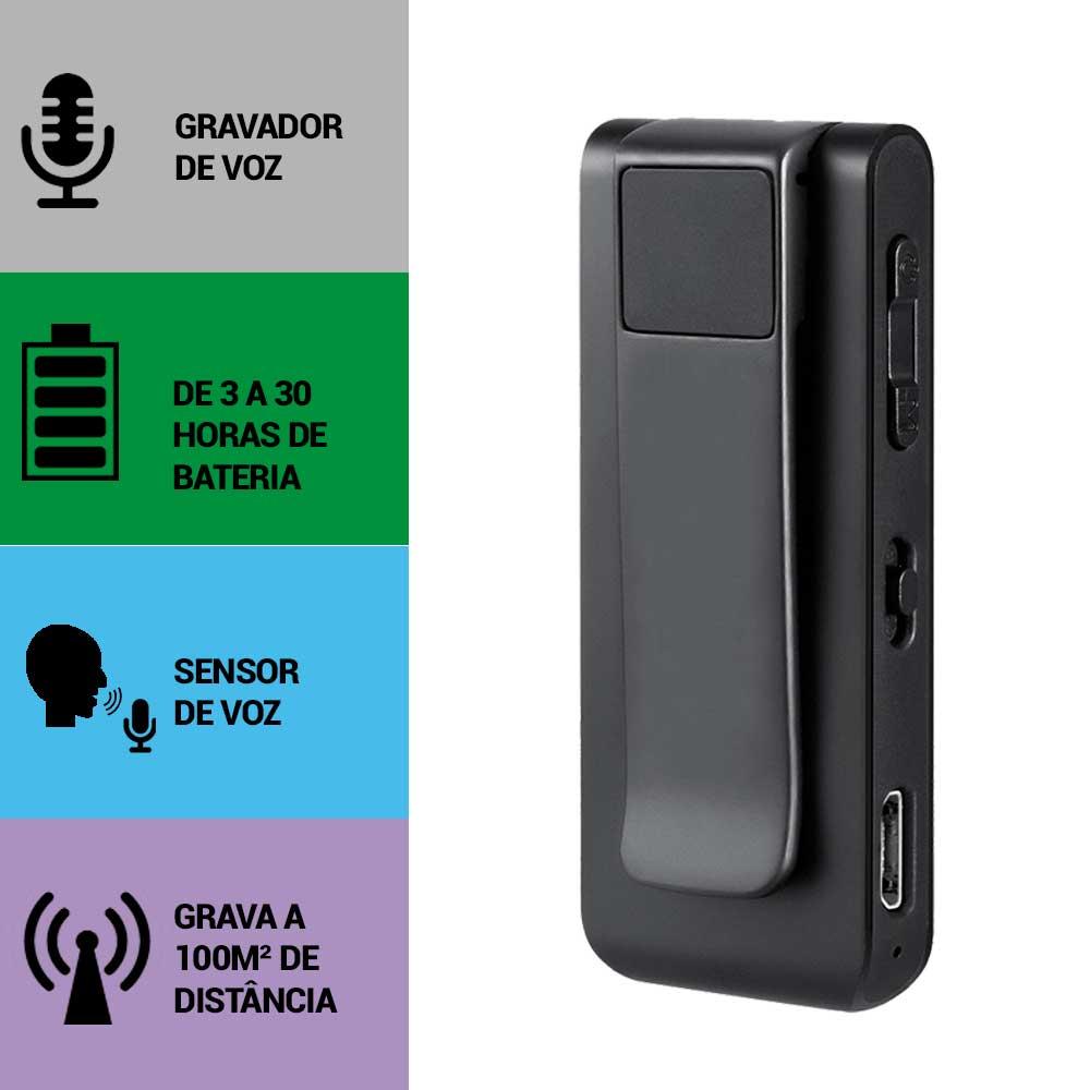 Mini Gravador de Voz, Sensor de Áudio, Grava à 100m de Distância, Microfone Externo  - Empório Forte