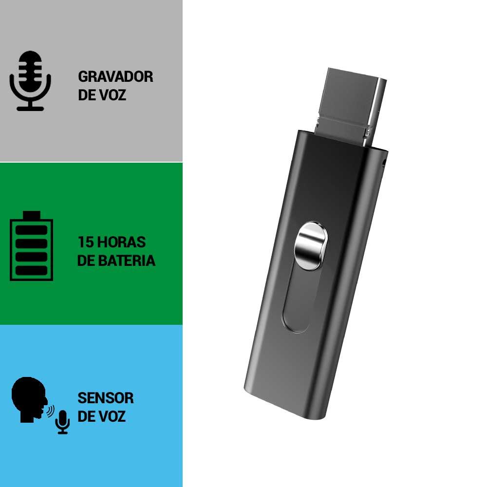 Pen Drive com Gravador de Voz, Sensor de Áudio, Grava 15 Horas Sem Parar