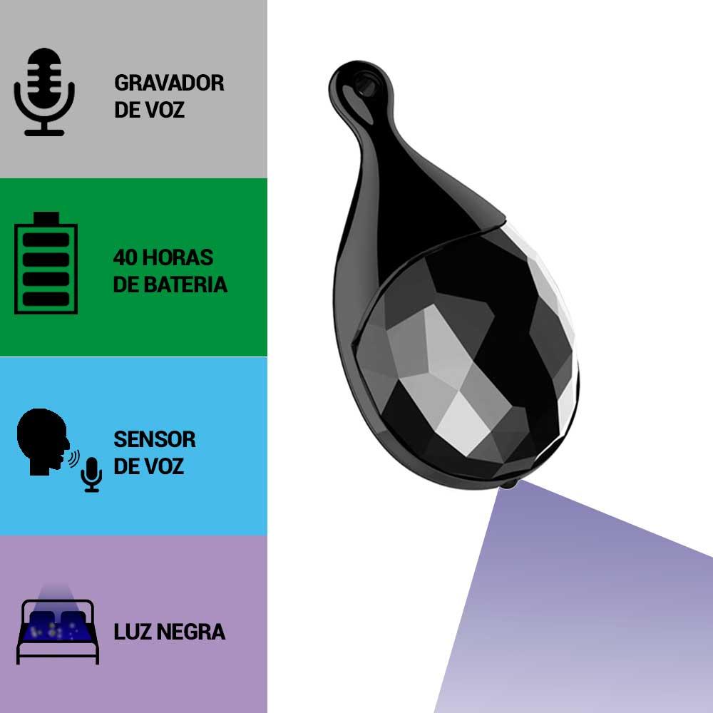 Pingente com Gravador de Voz, Sensor de Áudio, Luz Negra, Grava 40 Horas Sem Parar  - Empório Forte