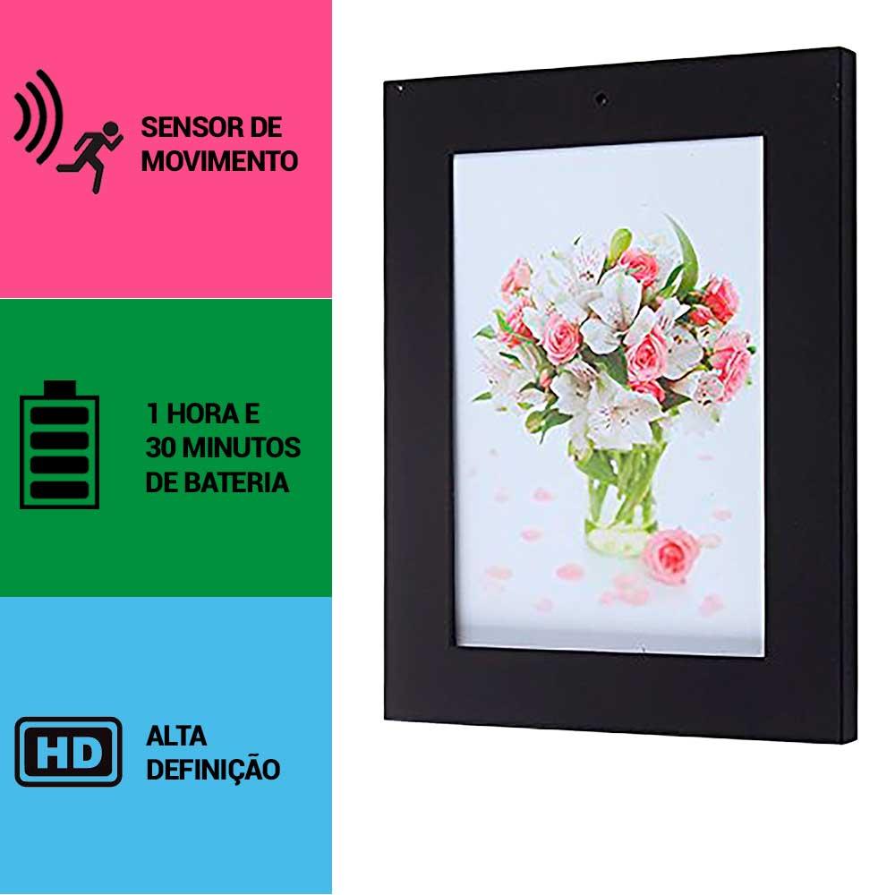 Porta Retrato com Câmera Espiã, Sensor de Movimento, HD
