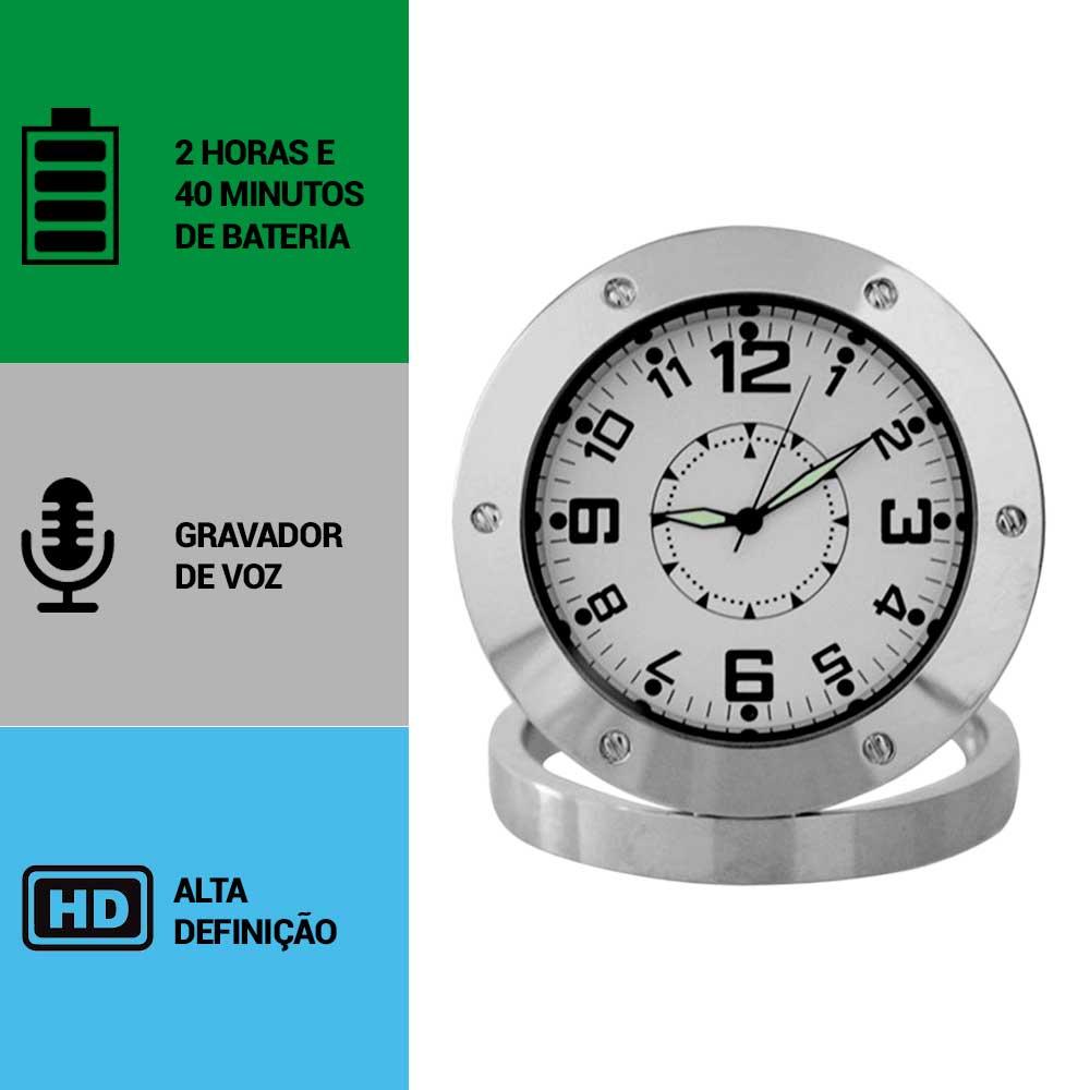 Relógio de Mesa com Câmera Espiã, Gravador de Voz, HD