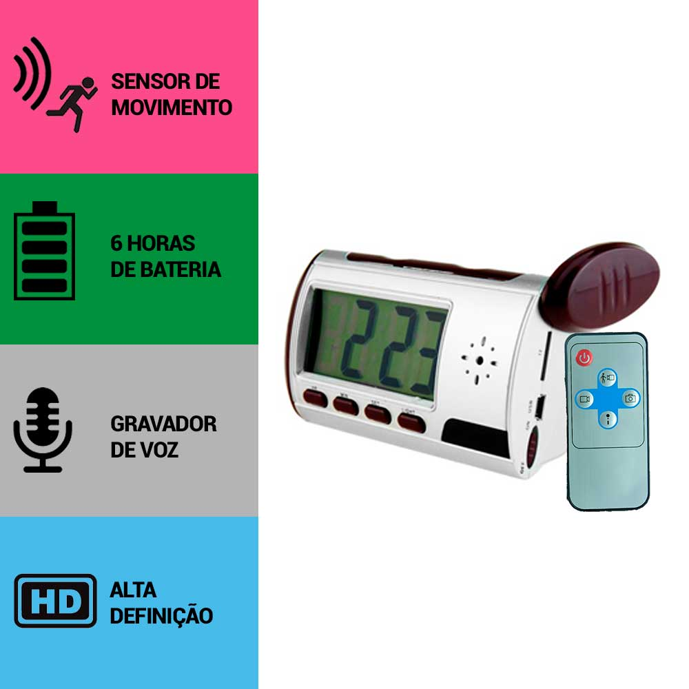Relógio de Mesa com Câmera Espiã, Gravador de Voz, Sensor de Movimento, HD  - Empório Forte