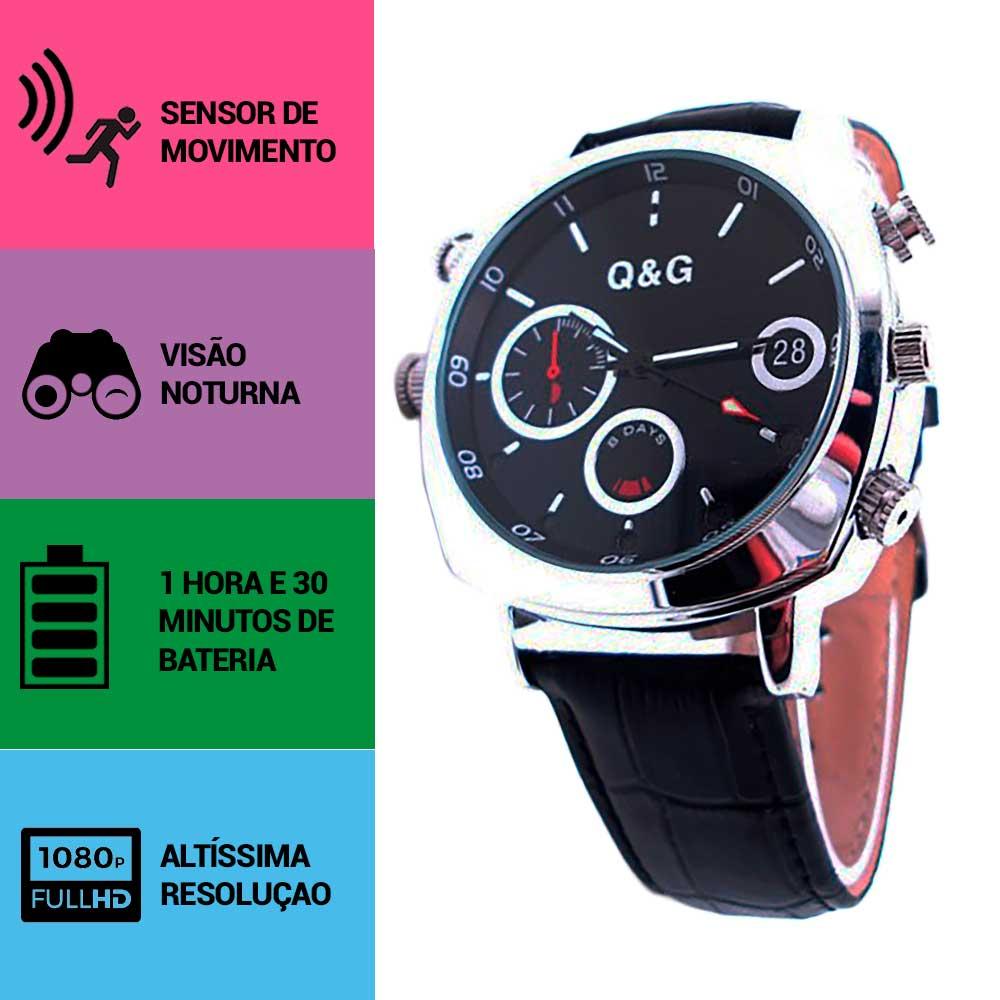 Relógio de Pulso Unissex com Câmera Espiã, Sensor de Movimento, Visão Noturna, Full HD  - Empório Forte