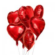 Kit 5 Balões Coração Vermelho