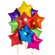 Kit 10 Balões Estrela Metalizado Colorido