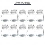 Kit 10un Pote de Vidro com Tampa Hermética Gominho 110ml - 10 unidades