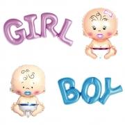 Kit 4 Balões Metalizados Chá de Bebê / Boy+Girl+Bebê Menino+Bebê Menina / Decoração para Chá Revelação