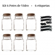 Kit 6 potes de vidro tampa rolha 80 ml + 6 etiquetas