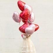 Kit 8 Balões Metalizados Coração Vermelho e Rosa