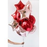 Kit 10 Balões Estrela e Bola Metalizado Vermelho e Ouro Rosé