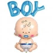 Kit Balões Metalizados Chá de Bebê - Boy + Bebê - Decoração para Chá Revelação - Chá Menino
