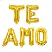 Kit Balões Metalizados `Te Amo` Dourado