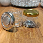 Mini Pote de Vidro Geleinha Com Tampa Metálica 30 ml.