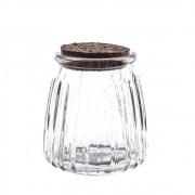 Pote de vidro trabalhado com tampa rolha 6,5cm
