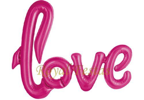 Balão Metalizado Love Rosa